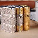 DIY   PureFive manual lighter face carved tang grass riches and honour flowers pure copper  BC3810