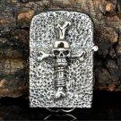 DIY   PureFive Manual lighters Tibetan silver ghost rider skull temple messenger cross  BC3854
