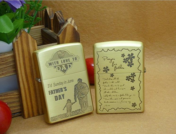windproof lighters pure copper etching father's day The father loves the  BC3871