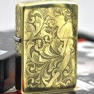 YZH Genuine Pure copper armor version  five carving  Flower Fairy  mirror gold  lighter BC3894