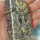 XHT 5.7*3.6*1.6cm  Relief dragon five-sided carving handmade gold 925 sterling silver  lighter