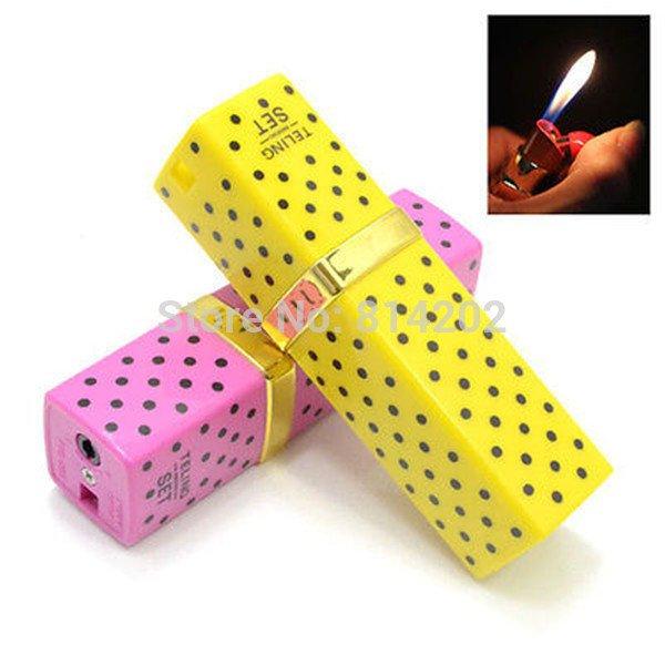 2pcs  Novelty Lipstick shape Cigarette Lighter Refillable Gas Cigar Lighter free shipping BC4420