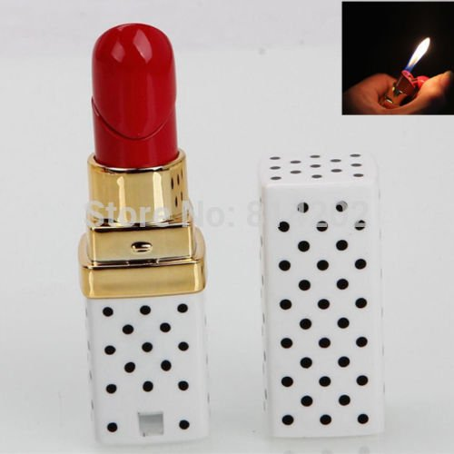 Girl Lipstick Dot Pattern Cigarette Lighter Butane Gas Fuel Lighter BC4433