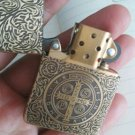 ZPObrand lighter five carved engraved 1941constantine  Cross  with gold line with box  BC3753