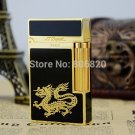 S.T Memorial Dupont lighter Bright Sound! New In Box  black+ gold Chinese dragon Serial number C122