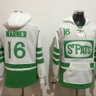 Mens Toronto Maple Leafs #16 Mitchell Marner White/Green Authentic Ice Hockey Jersey Hoodie