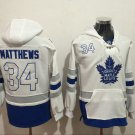 Mens Toronto Maple Leafs #34 Auston Matthews White/Blue Authentic Ice Hockey Jersey Hoodie