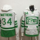 Mens Toronto Maple Leafs #34 Auston Matthews White/Green Authentic Ice Hockey Jersey Hoodie