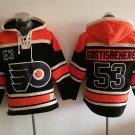 Mens Philadelphia Flyers #53 Shayne Gostisbehere Black Authentic Ice Hockey Jersey Hoodie