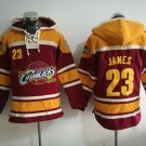 Mens Cleveland Cavaliers 23# LeBron James Red Authentic Basketball Jersey Hoodie