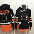 Mens Philadelphia Flyers #11 TRAVIS KONECNY Black Authentic Ice Hockey Jersey Hoodie