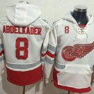 Mens Detroit Red Wings #8 Abdelkader White Authentic Ice Hockey Jersey Hoodie