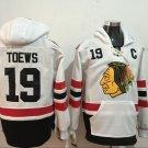 Mens Chicago Blackhawks #19 Jonathan Toews White Authentic Ice Hockey Jersey Hoodie