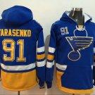 Mens St Louis Blues #91 Tarasenko Royal Blue Authentic Ice Hockey Jersey Hoodie