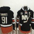 Mens New York Islanders #91 John Tavares Black Authentic Ice Hockey Jersey Hoodie