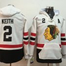 Mens Chicago Blackhawks #2 Duncan Keith White Authentic Ice Hockey Jersey Hoodie