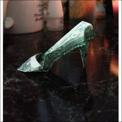Money Origami High Heel Shoes, made with real $1 bill