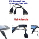 USB Male to USB A Female USB 2.0 Power Supply OTG Host Data Y Splitter Cable