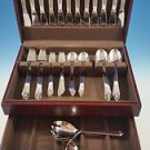 NEW SET OF PYRAMID STAINLESS STEEL BY GEORG JENSEN SERVICE FOR 12 w/2 SERVERS