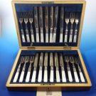 Victorian English Mother of Pearl Dessert / Fruit Knives & Forks in Original Box