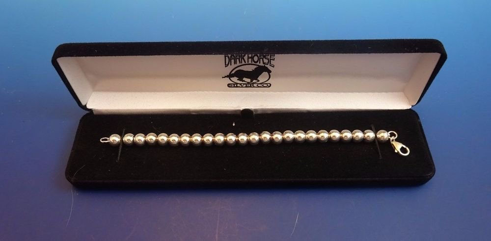 New in Box 925 Sterling Silver Beaded Bracelet with 8 mm. Beads  (1175)