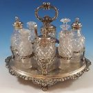 Fancy English Sterling Silver Cruet Set w/8 Bottles