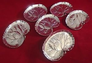 Set of 6 Matching Sterling Silver Leaf Dishes (#H53)