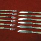 English Set of 6 Fruit Knives and 6 Fruit Forks Mother of Pearl Handles