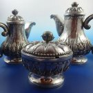 850 Silver Teapot, Sugar Bowl & Creamer Set with Covers by IHS