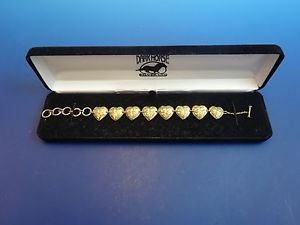 New in Box 925 Sterling Silver Bracelet with Hearts w/ Brite Cut Design   (1173)