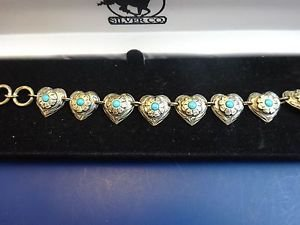 New in Box 925 Sterling Silver Heart Bracelet withTurquoise Stones (1179)