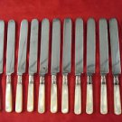 """12 Antique Matching Mother of Pearl Knives 9 1/4"""""""
