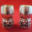 Pair of Heavy Mexican Sterling Goblets with Open Work Grape Design (#H81)