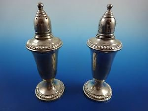 Sterling Silver Salt & Pepper Set Weighted with Gadroon Edge (H189)