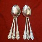 6 Sheffield Silverplate Pierced Serving Spoons Gadroon pattern