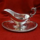 Silverplate Gravy Boat and Tray with Gadroon Border