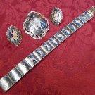 Vintage Siam Sterling Jewelry Set Bracelet, Earrings, Brooch/Pin/Pendant (#2033)