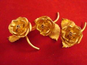 3 Vermeil Sterling Rose Place Card Holders ( Or Menu Holders ) by Janna