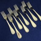 """8 Sheffield Stainless Steel Forks with Design on Edge 7 1/8"""""""
