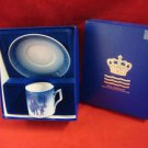 """1980 ROYAL COPENHAGEN CUP / SAUCER  """" BRINGING HOME THE CHRISTMAS TREE """" IN BOX"""