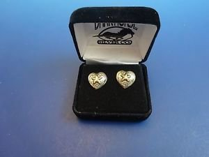 Sterling Silver  Pierced Earrings Heart Shaped with Star in Center  (#1130)