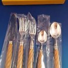 New Alain Saint-Joanis Stainless Twist Olivewood  5 Piece Place Setting  #35