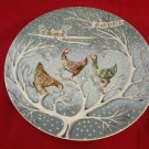 """1972 Haviland Limoges Noel Plate The 12 Days of Christmas """"Three French Hens"""""""