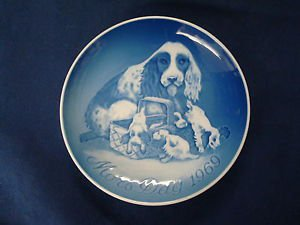 1969 BING & GRONDAHL B&G MOTHER'S DAY PLATE COCKER SPANIEL & PUPS