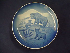 1985  BING & GRONDAHL B&G MOTHER'S DAY PLATE BEAR & CUBS