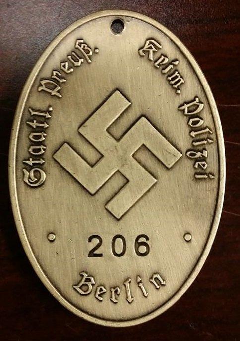 WWII Nazi German Prussian Gestapo Warrant disc secret police badge