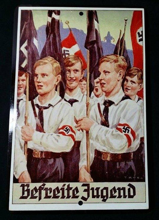 WWII WW2 Nazi German HJ Hitler Youth flag bearers Metal sign