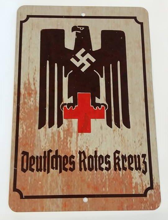 WWII WW2 Nazi German DRK Red Cross eagle Metal sign