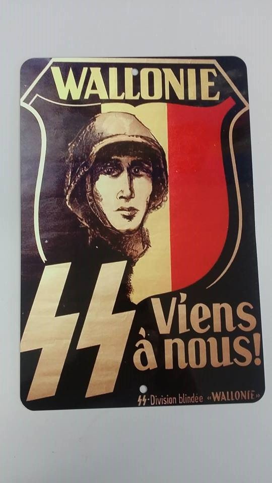 WWII WW2 Nazi German SS Wallonie  NSDAP Propaganda Metal sign