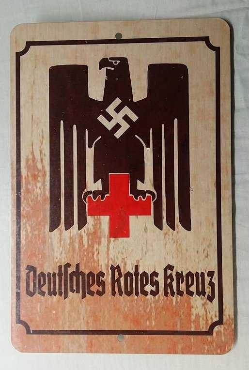 WWII WW2 Nazi GermanDRK Red Cross eagle Propaganda Metal sign